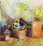 Pansies and Terracotta Pots (w/c) Postcards, Greetings Cards, Art Prints, Canvas, Framed Pictures & Wall Art by Karen Armitage