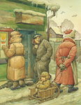 Russian Scene 02, 1994 (w/c on paper) Wall Art & Canvas Prints by Kestutis Kasparavicius
