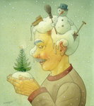 Snowy Winter, 2006 (w/c on paper) Fine Art Print by Kestutis Kasparavicius