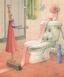 WCStory, 2003 (w/c on paper) Wall Art & Canvas Prints by Kestutis Kasparavicius