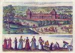 Arrival of Queen Elizabeth I at Nonesuch Palace and men and women from Tudor society, 1582 Fine Art Print by French School