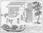 Porcelain shops and boats for transport of china, from a series of illustrations on the manufacture of china Fine Art Print by Chinese School