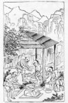 Making coarse clay cases to hold the china while in the furnace, from a series of illustrations of the manufacture of china Fine Art Print by Chinese School