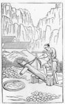 Pounding the clay, from a series of illustrations of the manufacture of china Fine Art Print by Chinese School