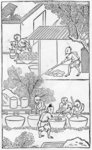Washing the clay, from a series of illustrations of the manufacture of china Fine Art Print by Chinese School