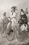 Two cyclists on Penny Farthing bicycles in the 19th century. From Illustrierte Sittengeschichte vom Mittelalter bis zur Gegenwart by Eduard Fuchs, published 1909. Postcards, Greetings Cards, Art Prints, Canvas, Framed Pictures, T-shirts & Wall Art by Terrence Nunn