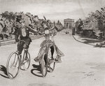 Cyclists on the way to the Bois du Boulogne, Paris, France in the 19th century. From Illustrierte Sittengeschichte vom Mittelalter bis zur Gegenwart by Eduard Fuchs, published 1909. Fine Art Print by Terrence Nunn