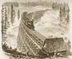 Trestle Bridge on the Pacific Railway, Sierra Nevada, c.1870, from 'American Pictures', published by The Religious Tract Society, 1876 (engraving) Postcards, Greetings Cards, Art Prints, Canvas, Framed Pictures, T-shirts & Wall Art by English School