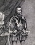 Hernan Cortes, Marques del valle de Oaxaca (1485-1547) (engraving) Fine Art Print by French School