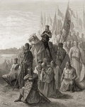 King Louis IX (1217-70) before Damietta, illustration from 'Bibliotheque des Croisades' by J-F. Michaud, 1877 (litho) Fine Art Print by Gustave Dore