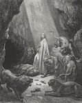 Daniel in the Den of Lions, Daniel 6:16-17, illustration from Dore's 'The Holy Bible', engraved by Piaud, 1866 (engraving) Fine Art Print by .