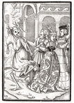 Death comes for the Queen, engraved by Georg Scharffenberg, from 'Der Todten Tanz', published Basel, 1843 (litho) Postcards, Greetings Cards, Art Prints, Canvas, Framed Pictures, T-shirts & Wall Art by Hans Holbein The Younger