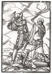 Death comes to the Soldier, engraved by Georg Scharffenberg, from 'Der Todten Tanz', published Basel, 1843 (litho) Fine Art Print by Hans Holbein The Younger