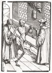 Death comes to the Doctor, engraved by Georg Scharffenberg, from 'Der Todten Tanz', published Basel, 1843 (litho) Wall Art & Canvas Prints by Hans Holbein The Younger
