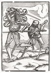 Death comes to the Knight or Count, from 'Der Todten Tanz', published Basel, 1843 (litho) Postcards, Greetings Cards, Art Prints, Canvas, Framed Pictures, T-shirts & Wall Art by Hans Holbein The Younger