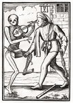 Death comes to the Musician, from 'Der Todten Tanz', published Basel, 1843 (litho) Postcards, Greetings Cards, Art Prints, Canvas, Framed Pictures, T-shirts & Wall Art by Hans Holbein The Younger