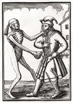 Death comes to the Jew, from 'Der Todten Tanz', published Basel, 1843 (litho) Wall Art & Canvas Prints by Hans Holbein The Younger