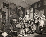 The Young Heir Takes Possession of the Miser's Effects, plate I from 'A Rake's Progress', from 'The Works of William Hogarth', published 1833 (litho) Postcards, Greetings Cards, Art Prints, Canvas, Framed Pictures & Wall Art by William Hogarth