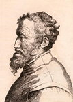 Michelangelo di Lodovico Buonarroti Simoni, illustration from '75 Portraits Of Celebrated Painters From Authentic Originals', published in London, 1817 (engraving) Wall Art & Canvas Prints by Antonio Pisanello