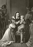 King Charles I of England bidding farewell to his children before his execution, from 'The National and Domestic History of England' by William Hickman Smith Aubrey Fine Art Print by English School