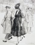During the First World War, two French soldiers on leave wryly observe an elegantly dressed couple in a Paris street, after a work by L. Sabattier, from 'L'Illustration', published in 1916 Poster Art Print by Francisco Jose de Goya y Lucientes