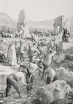 German prisoners of war at work excavating ruins of the Roman city of Volubilis, Morocco during the First World War, from L'Illustration, published in 1915 Fine Art Print by English School