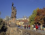 Statue on the Charles Bridge Fine Art Print by French School