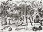 Human sacrifice in the Congo during the 19th century, from 'Africa Pintoresca', published 1888 (engraving) Postcards, Greetings Cards, Art Prints, Canvas, Framed Pictures, T-shirts & Wall Art by Oliver Frey
