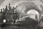 Trial run of train in London Underground in 1862, from 'The Universal Museum', published 1862 (engraving) Wall Art & Canvas Prints by French School
