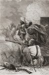 Northern Afghan rebels fighting the British in the mountains of Hazara, Pakistan, during British rule, 1878 (engraving) Fine Art Print by Charles Monnet