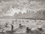 Hawaiians surfing, illustration from 'The World in the Hands', engraved by Charles Barbant (d.1922), published 1878 (engraving) Fine Art Print by Paul Gauguin