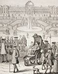 The young King Louis XV promenading in a carriage in the Tuileries Gardens, Paris, from 'XVIII Siecle Institutions, Usages et Costumes', published 1875 (litho) Wall Art & Canvas Prints by Etienne Bouhot
