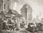 The market in the Place Maubert, Paris, in the 18th century, after a work by Jeaurat, from 'XVIII Siecle Institutions, Usages et Costumes', published 1875 (litho) Wall Art & Canvas Prints by Martin Schongauer