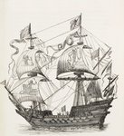Man-of-War of the 16th century, c.1880 (litho) Wall Art & Canvas Prints by James Brereton