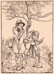 'When it was sharp enough, he looked round at the strangers', illustration from 'Grimm's Fairy Tale, The Little Folk's Presents' (litho) Wall Art & Canvas Prints by Fortune Louis & Meyer, Henri Meaulle