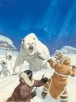 Polar Bears and Eskimos Fine Art Print by Francois Auguste Biard