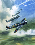 The Supermarine Spitfire Mark IX (gouache on paper) Wall Art & Canvas Prints by Muggeridge