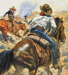 Cowboy and Mexican Fine Art Print by James Edwin McConnell