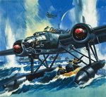 Flying Boat (gouache on paper) Wall Art & Canvas Prints by Wilf Hardy