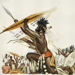 African Warriors (gouache on paper) Wall Art & Canvas Prints by James Edwin McConnell