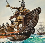 Natives and Captain Cook Fine Art Print by Wilf Hardy