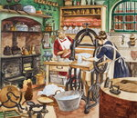 Nineteenth Century Kitchen (gouache on paper) Postcards, Greetings Cards, Art Prints, Canvas, Framed Pictures & Wall Art by Lili Cartwright