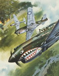 Famous Aircraft and their Pilots (gouache on paper) Fine Art Print by Gerry Wood