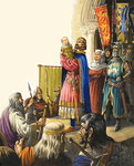 King Edward I (1239-1307) Presents His Baby Son (gouache on paper) Fine Art Print by Patricia Espir