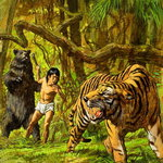 Boy with Bear and Tiger Fine Art Print by Patricia Espir