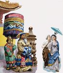 Eastern Figures with a parasol and canopy (gouache on paper) Wall Art & Canvas Prints by Chinese School