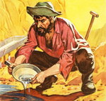 Panning for Gold, 1964 (gouache on paper) Postcards, Greetings Cards, Art Prints, Canvas, Framed Pictures, T-shirts & Wall Art by American School