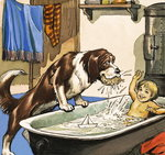 Nana baths Michael, illustration from 'Peter Pan' by J.M. Barrie (gouache on paper) Fine Art Print by Patricia Espir