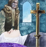 Sir Lancelot arrives at the nunnery to find Queen Guinivere has already died, 1972 (gouache on paper) Postcards, Greetings Cards, Art Prints, Canvas, Framed Pictures, T-shirts & Wall Art by Sir James Guthrie