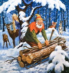 The Snow Fairy, illustration from 'Once Upon a Time' (gouache on paper) Fine Art Print by Anthony Southcombe